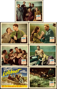 """Lifeboat (20th Century Fox, 1944). Title Lobby Card & Lobby Cards (6) (11"""" X 14""""). ... (Total: 7 Items)"""