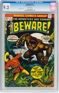 Bronze Age (1970-1979):Horror, Beware #1 (Marvel, 1973) CGC NM- 9.2 White pages....
