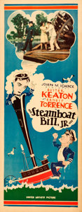"""Movie Posters:Comedy, Steamboat Bill, Jr. (United Artists, 1928). Insert (14"""" X 36"""").. ..."""