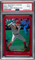 Baseball Cards:Singles (1970-Now), 2011 Bowman Chrome Draft Mike Trout (Red Refractor) #101 PSA Mint 9- #3/5. ...