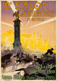 "Salon de L'Automobile et du Cycle (1910). French Advertising Poster (28.25"" X 39.75"") Gaston Simodes de Fonsec..."