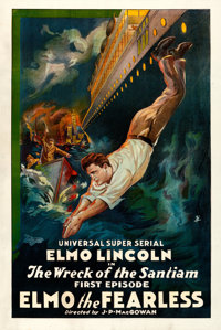 "Elmo the Fearless (Universal, 1920). Very Fine- on Linen. One Sheet (27"" X 40.75"") Chapter 1 -- ""The Wrec..."