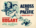 """Movie Posters:War, Across the Pacific (Warner Brothers, 1942). Half Sheet (22"""" X 28"""") Style B.. ..."""