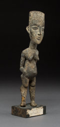 Tribal Art, An Akan Figure Wood with encrustations.  A...
