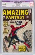 Silver Age (1956-1969):Superhero, Amazing Fantasy #15 (Marvel, 1962) CGC Apparent FN 6.0 Moderate (P)Off-white pages....