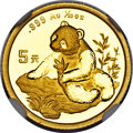 "China, China: People's Republic gold ""Large Date"" Panda 5 Yuan (1/20 oz) 1998 MS70 NGC,..."