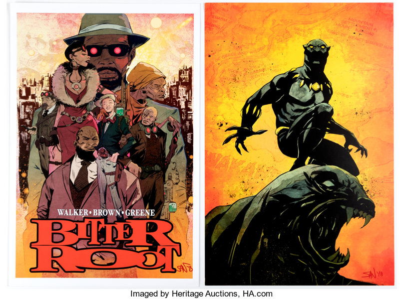 Sanford Greene Bitter Root and Black Panther Signed Posters Group ... 46de7d2ddc35