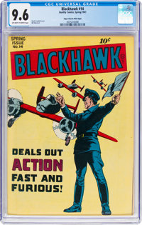 Blackhawk #14 Mile High Pedigree (Quality, 1947) CGC NM+ 9.6 Off-white to white pages