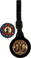 Political:Pinback Buttons (1896-present), William Howard Taft: Real Photo Jugate Fob and Starry-Field Picture Pin. ... (Total: 2 Items)