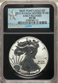 2013-W $1 Reverse Proof Silver Eagle, Struck at West Point Mint, Early Releases, PR70 NGC. NGC Census: (31534). PCGS Pop...