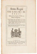 Books, British Government. Four Acts Addressing the Counterfeiting andClipping of English Coins. Includes: a 1695 Act toPrevent...