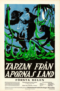 "Tarzan of the Apes (National Film, 1918). Swedish One Sheet (23"" X 35"")"