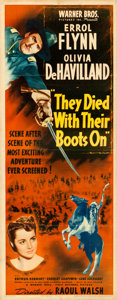 "Movie Posters:Western, They Died with Their Boots On (Warner Brothers, 1941). Folded,Fine/Very Fine. Insert (14"" X 36""). Western.. ..."