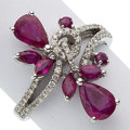 Estate Jewelry:Rings, Diamond, Ruby, White Gold Ring. ...