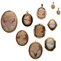 Estate Jewelry:Lots, Shell Cameo, Diamond, Gold, Yellow Metal Jewelry. ... (Total: 9 Items)