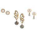 Estate Jewelry:Earrings, Diamond, Cultured Pearl, Colorless Stone, Gold Earrings. ...(Total: 3 Items)