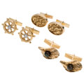 Estate Jewelry:Cufflinks, Diamond, Cultured Pearl, Gold Cuff Links. ... (Total: 3 Items)