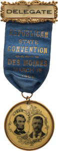 Political:Ribbons & Badges, Theodore Roosevelt: 1908 Des Moines Convention Ribbon Badge....