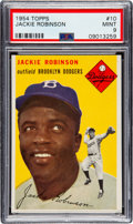 Baseball Cards:Singles (1950-1959), 1954 Topps Jackie Robinson #10 PSA Mint 9 - None Higher....