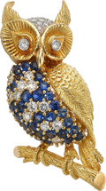 Estate Jewelry:Brooches - Pins, Diamond, Sapphire, Gold Brooch. ...