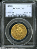 """Liberty Eagles: , 1856-S $10 AU50 PCGS. Breen-6923, """"Very rare."""" The Large S mintmarkvariety, which is several times scarcer than its Medium..."""