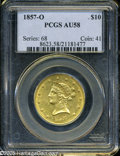 Liberty Eagles: , 1857-O $10 AU58 PCGS. Fully brilliant surfaces. The fields wereprooflike at the time of issue and much of that original mi...