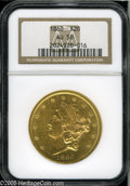 Liberty Double Eagles: , 1860 $20 AU58 NGC. Well struck with nearly full luster and apleasing frosty sheen, this example displays rich coloration a...