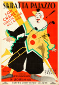 "Movie Posters:Drama, Laugh, Clown, Laugh (MGM, 1928). Swedish One Sheet (27.5"" X 39.5"") Eric Rohman Artwork.. ..."