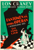"Movie Posters:Horror, The Phantom of the Opera (Universal, R-1930s). Swedish One Sheet(27.5"" X 39.5"") Sound Version.. ..."