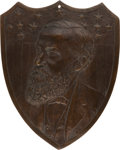 Political:3D & Other Display (pre-1896), Benjamin Harrison: Well-Executed Bronze Portrait Plaque....