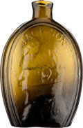 Political:3D & Other Display (pre-1896), Andrew Jackson: Half-Pint Glass Whiskey Flask....