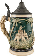 Political:3D & Other Display (1896-present), [Theodore Roosevelt]: Small Safari-Theme Lidded Beer Stein....