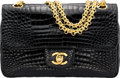 """Luxury Accessories:Bags, Chanel Shiny Black Crocodile Small Double Flap Bag with Gold Hardware. Condition: 3. 9"""" Width x 6"""" Height x 2.5"""" Depth..."""