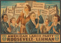 Political:Posters & Broadsides (1896-present), Franklin D. Roosevelt: Large and Graphic American Labor Party Poster....