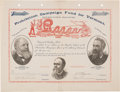 "Political:Small Paper (pre-1896), Fisk & Brooks: Exceptional Jugate ""Stock Certificate""...."