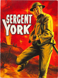 Sergeant York by Jean Mascii (Prodis, R-1960s). Signed Original French Gouache Poster Artwork on Illustration Board (29...