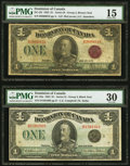 Canadian Currency, DC-25i $1 1923;. DC-25n $1 1923.. ... (Total: 2 notes)