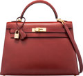"""Luxury Accessories:Bags, Hermès 32cm Rouge H Calf Box Leather Sellier Kelly Bag with Gold Hardware. E Square, 2001. Condition: 3. 12.5"""" Wid..."""