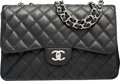 """Luxury Accessories:Bags, Chanel Black Quilted Caviar Leather Jumbo Single Flap Bag with Silver Hardware. Condition: 2. 12"""" Width x 8"""" Height x ..."""
