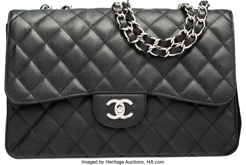 7b06a704d657 Chanel Black Quilted Caviar Leather Jumbo Single Flap Bag
