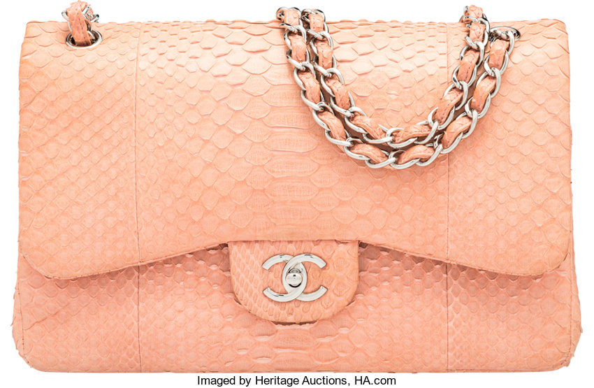 751a962a0dfd Luxury Accessories:Bags, Chanel Light Pink Python Jumbo Double Flap Bag  with SilverHardware.