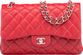 """Luxury Accessories:Bags, Chanel Red Quilted Caviar Leather Jumbo Double Flap Bag with Silver Hardware. Condition: 2. 12"""" Width x 8"""" Height x 4""""..."""