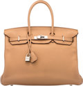 """Luxury Accessories:Bags, Hermès 35cm Tabac Camel Clemence Leather Birkin Bag with Palladium Hardware. N Square, 2010. Condition: 3. 14"""" Wid..."""
