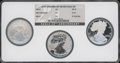 Three-Piece 20th Anniversary Silver Eagle Set NGC. This set includes: 2006-W MS70 NGC; 2006-P Reverse Proof PR70 NGC; an...