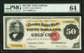 Fr. 1193 $50 1882 Gold Certificate PMG Choice Uncirculated 64