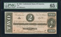 Confederate Notes:1864 Issues, T70 $2 1864 PF-6 Cr. 568 PMG Gem Uncirculated 65 EPQ.. ...