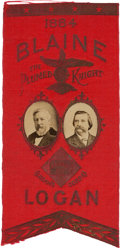 """Political:Ribbons & Badges, Blaine & Logan: 1884 Dated Jugate Ribbon with """"Plumed Knight"""" in Gold...."""