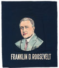 Political:Textile Display (1896-present), Franklin D. Roosevelt: Colorful Portrait Banner....