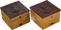 Political:3D & Other Display (pre-1896), Garfield & Arthur: Matched Pair of Collar Boxes.... (Total: 2 Items)