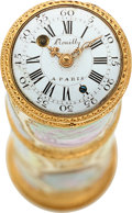 Timepieces:Pocket (pre 1900) , Jean Romilly Paris Very Rare Louis XV Period Gold & Enamel Étui With Watch, Date Indicator And Compass. ...